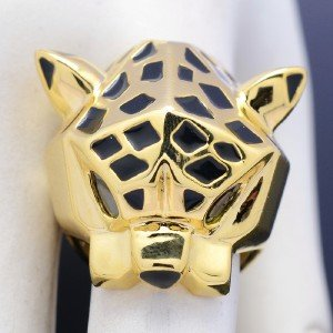 High Quality Gold Tone Leopard Panther Cocktail Ring w/ Green Eyes Size 7,8,9,10