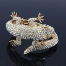 Clear Animal Gecko Lizard Bracelet Bangle W/ Rhinestone Crystals Gold Tone 20338