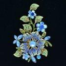 """Pretty Blue Flower Leaf  Brooch Pin 4.8"""" w/ Rhinestone Crystals 8804712"""