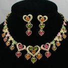 Hi-Quality Multi Heart Necklace Earring Set W/ Mix Swarovski Crystals JN0558-12