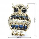 "2.7"" Animal Owl Brooch Pin Montana Rhinestone Crystals Vintage Vogue"