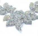 Leaf Bud Rose Flower Necklace Earring Sets W/ Black A/B Swarovski Crystals