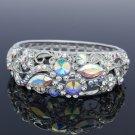 Chic Flower Bracelet Bangle Cuff Clear Swarovski Crystals Silver Tone
