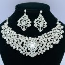Heart Flower Necklace Earring Jewelry Sets W/ Clear Rhinestone Crystals 02633