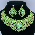 Gold Tone Green  Rhinestone Crystals Heart Flower Necklace Earring Set 02633