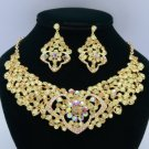 Gold Tone Jonquil Rhinestone Crystals Heart Flower Necklace Earring Set 02633