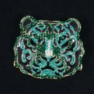 5113 Rhinestone Crystals Animal Wild Green Tiger Pendant Brooch Broach Pin 2.2""