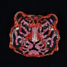 "Animal Wild Tiger Pendant Brooch Broach Pin 2.2"" W/ Red Rhinestone Crystals 5113"