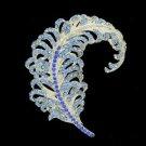"""Feather Brooch Broach Pin 3.1"""" W/ Blue Rhinestone Crystals 5065C9"""
