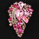 """Pink Flower Brooch Broach Pin 3.3"""" W/ Rhinestone Crystals 8804857"""