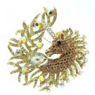 Rhinestone Crystals Lordly Brown Horse Unicorn Brooch Broach Pin 3.2""