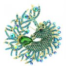 Rhinestone Crystals Lordly Green Horse Unicorn Brooch Broach Pin 3.2""