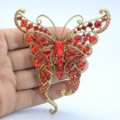 Animal Scalewing Butterfly Brooch Broach Pin W/ Red Rhinestone Crystals 8803683