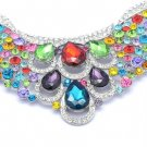 Multicolor Dorp Feather Necklace Earring Set W/ Rhinestone Crystal Oblong 02373