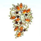 "Brilliant Brown Flower Brooch Broach Pin 3.3"" W/ Rhinestone Crystals 4080"