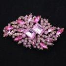 """Rhinestone Crystals Pink Fashion Flower Brooch Broach Pin 3.7"""" 4079"""