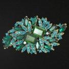 """Rhinestone Crystals Fashion 3.7"""" Green Flower Brooch Broach Pin 4079"""