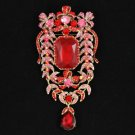 """8804910 Vintage Style Flower Brooch Pendant Pin 4.7"""" W/ Red Rhinestone Crystals"""