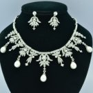 Drop Imitation Pearl Necklace Earring Set W/ Clear Crystal Bridal Wedding 27349R