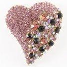 Huge Love Heart Brooch Pin w/ Purple Rhinestone Crystals