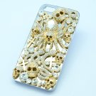 Gold Tone Snake Spider Skeleton Skull Cover Case Shell For iPhone 5 W/ Crystals