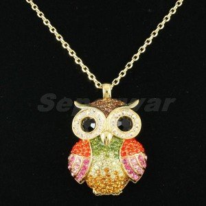 Swarovski Crystals Exquisite H-Quality Multicolor Owl Necklace Pendant SN2935-2