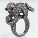 Cute Swarovski Crystals Cocktail Wild Pretty Black Monkey Ring 6#