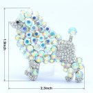 "Lovely Animal Dog Poodle Brooch Broach Pin 2.3"" W/ Clear Rhinestone Crystals"