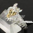 Gothic Fashion Clear Swarovski Crystals Crown Skull  Bracelet Bangle Cuff