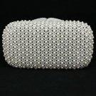Big Clear Imitation Pearls Clutch Evening Bag Purse Handbag W/ Swarovski Crystal