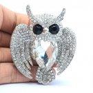 Silver Tone Bird Owl Brooch Broach Pin W/ Clear Rhinestone Crystals Wedding 5758