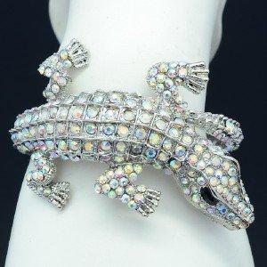 Terrible Animal Clear A/B Crocodile Bracelet Bangle Cuff W/ Swarovski Crystals