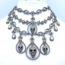 Halloween Flower Skull Chokers Necklace Earring Set Black Swarovski Crystals