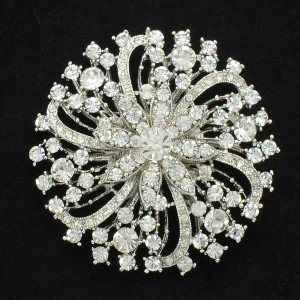 "Bridal Circle Flower Brooch Pin 2.6"" Rhinestone Crystals 8803805"
