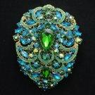 "Big Drop Pendant Flower Brooch Pin 4.9"" Blue Zircon Rhinestone Crystals 8804045"