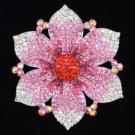 "Vogue Flower Brooch Pin 4.1"" W/ Pink Rhinestone Crystals Floral 8803487"