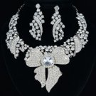 Bridal Floral Leaf Flower Necklace Earring Set W/ Clear Rhinestone Crystals