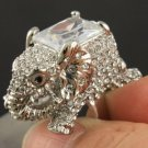 Silcer Tone Animal Clear Elephant Cocktail Ring 7# Swarovski Crystals SR1910-2