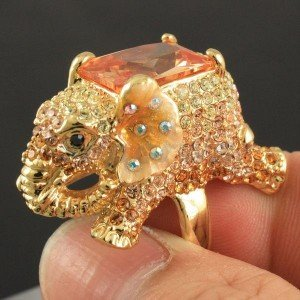 Gold Tone Animal Topaz Elephant Cocktail Ring 8# Swarovski Crystals SR1910-1