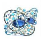 """Chic Vintage Popular Flower Brooch Pin 3.1"""" W/ Blue Rhinestone Crystals 5946"""