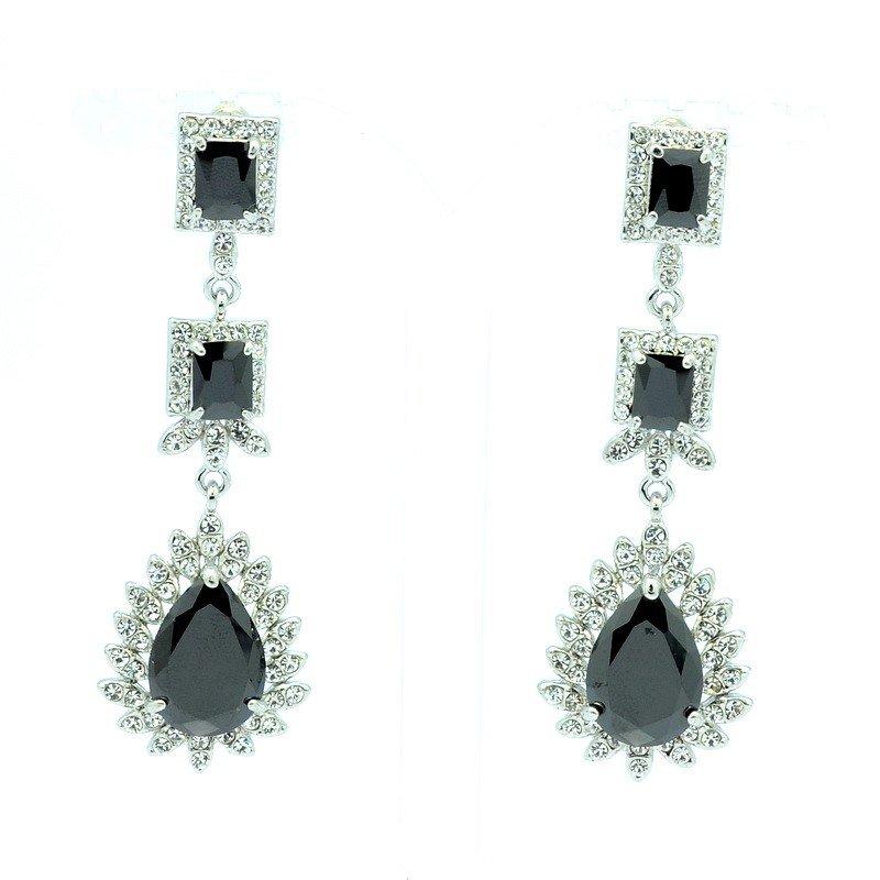 Vogue Black Zircon Dangle Pierced Flower Earring W Rhinestone Crystals 10674