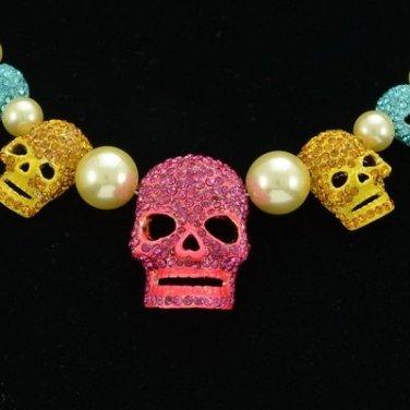 Rhinestone Crystals Imitation Pearl Multi Skeleton Skull Necklace Earring Sets