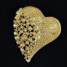 Vogue Rhinestone Crystals Brown Big Heart Brooch Pin