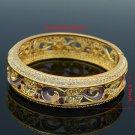 H-Quality Purple Swarovski Crystals Flower Bracelet Bangle 1686