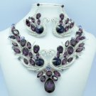 Silver Tone Swan Goose Necklace Earring Set W/ Purple Rhinestone Crystals 05720