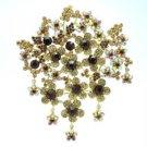 """Rhinestone Crystal Brown Big Flower Brooch Broach Pin 4.6"""" W/ Vintage Style 4046"""