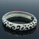 H-Quality Black Enamel Leopard Grain Bracelet Bangle W/ Swarovski Crystals 1682