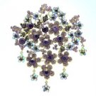 "Rhinestone Crystals Purple Big Flower Brooch Broach Pin 4.6"" W/ Vintage Style"