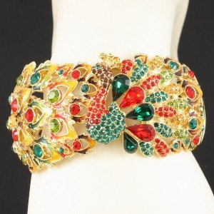 Gorgeous High Quality Swarovski Crystals Peafowl Peacock Bracelet Bangle SK1458