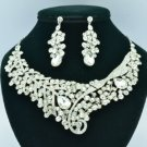Wedding Leaf Flower Necklace Earring Set W/ Clear Rhinestone Crystals 02622
